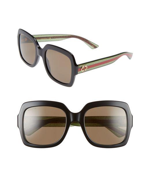 Gucci - Brown 54mm Square Sunglasses - - Lyst