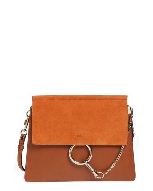 22cc96f3ab Women's Brown Chloé 'faye' Leather & Suede Shoulder Bag