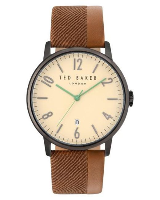 Ted Baker | Metallic Daniel Leather Strap Watch | Lyst