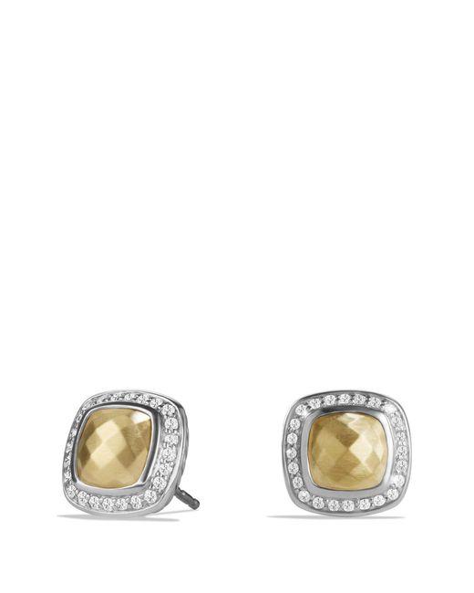 David Yurman - Metallic 'albion' Earrings With 18k Gold Dome And Diamonds - Lyst