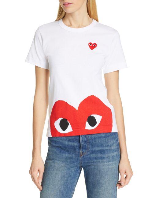 Comme des Garçons White Comme Des Garçons Play Peek Heart Graphic Tee