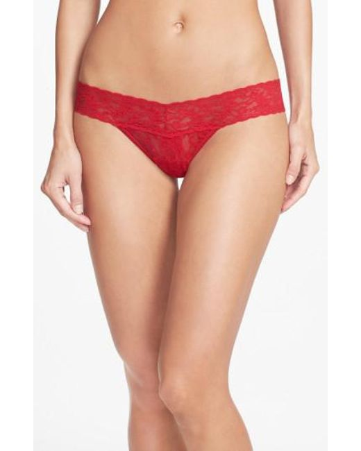 Hanky Panky - Red 'signature Lace' Low Rise Thong - Lyst