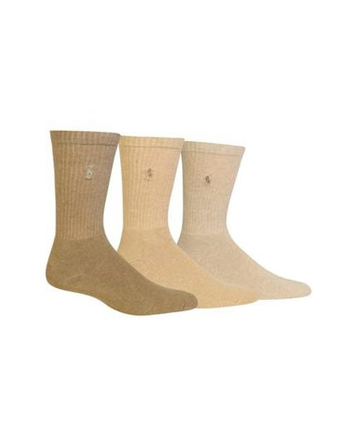 Polo Ralph Lauren - Brown 3-pack Crew Socks, Beige for Men - Lyst