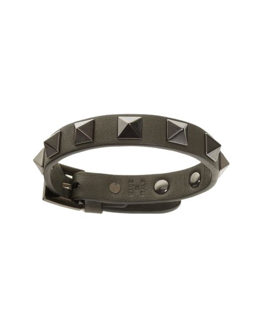 Valentino - Green Garavani Rockstud Leather Bracelet for Men - Lyst