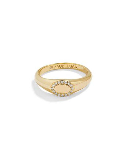 BaubleBar - Metallic Oval Pave Statement Ring - Lyst