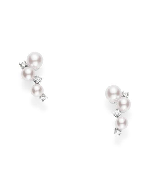 Mikimoto - Metallic Pearl & Diamond Cluster Earrings - Lyst