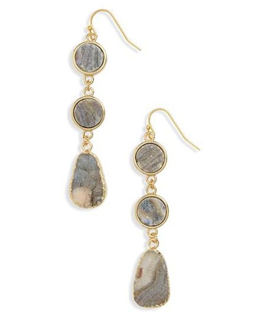 Panacea | Metallic Sunstone Drusy Linear Drop Earrings | Lyst