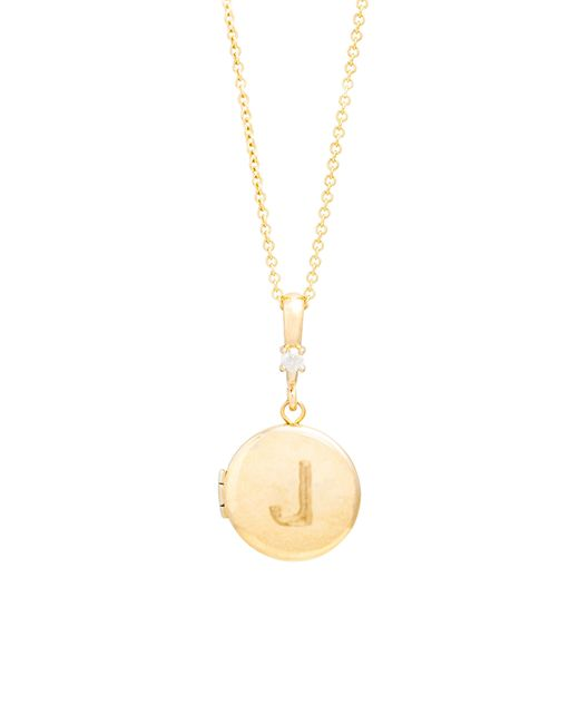 STONE AND STRAND Metallic Diamond Initial Locket Necklace