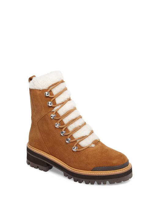 Marc Fisher Brown Izzie Genuine Shearling Lace-up Boot