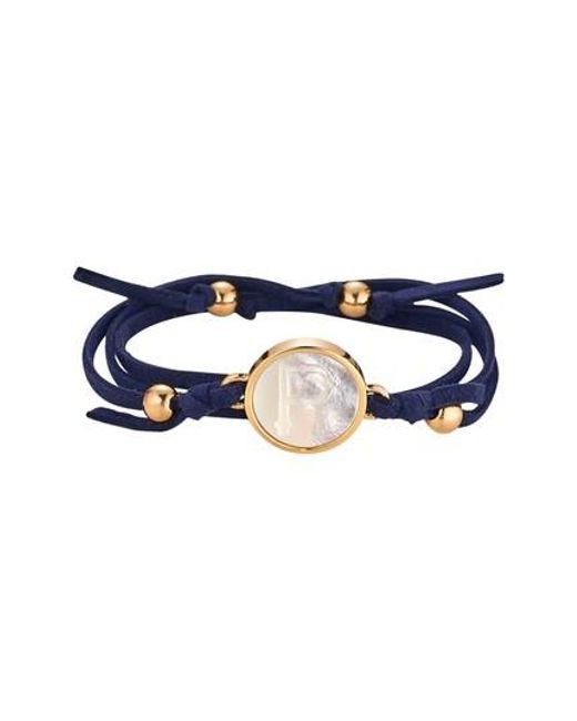 Asha | Blue Initial Suede Wrap Bracelet | Lyst