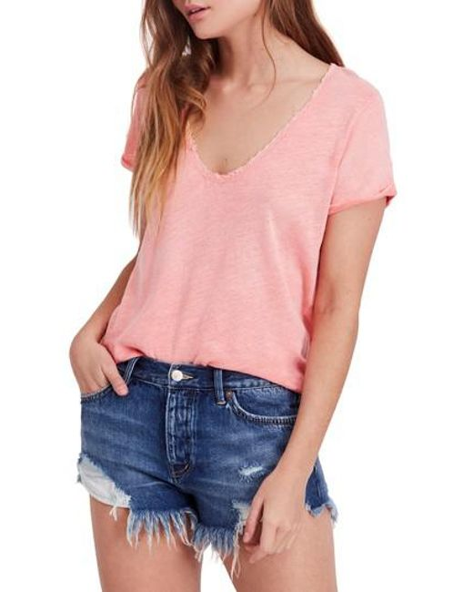 Free People - Pink Saturday Lace Trim Linen Blend Tee - Lyst