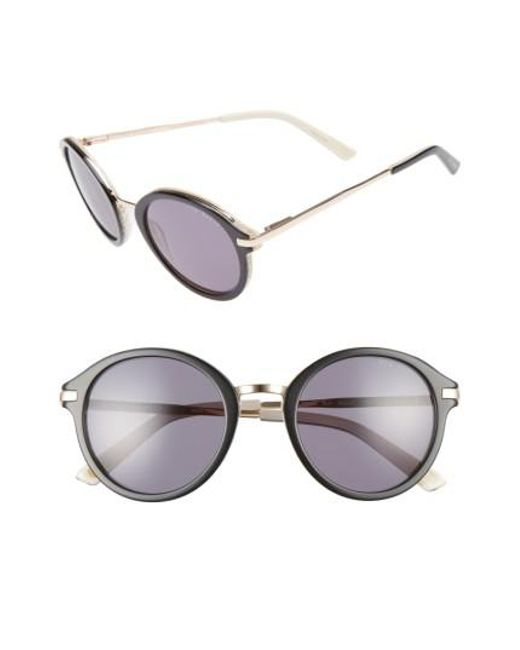 Ted Baker | Black 49mm Round Sunglasses | Lyst