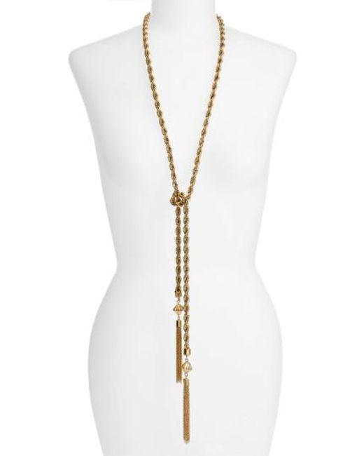 Karine Sultan   Metallic Tassel Necklace   Lyst
