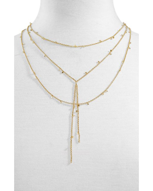 BaubleBar Metallic Evros Y-chain Layered Necklace