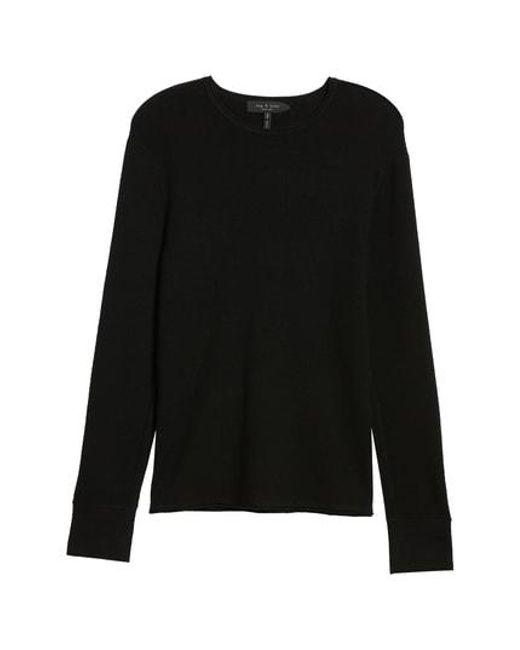 Rag & Bone - Black Gregory Merino Wool Blend Crewneck Sweater for Men - Lyst