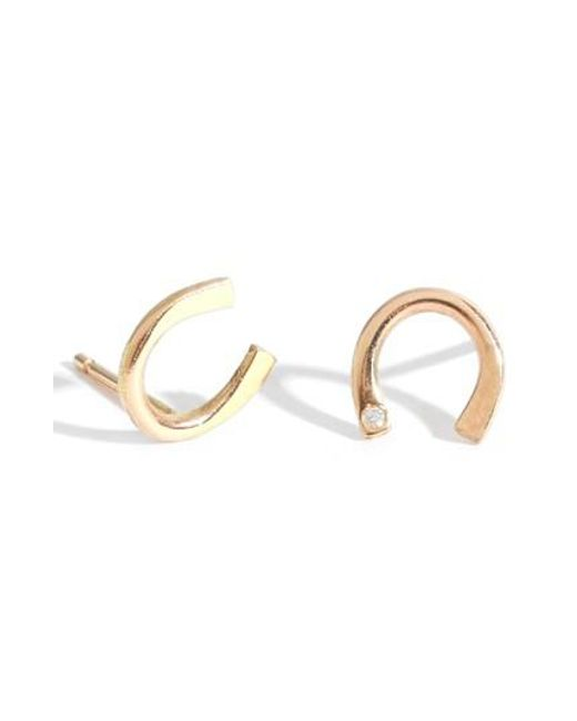 Melissa Joy Manning - Metallic Diamond Horseshoe Stud Earrings - Lyst