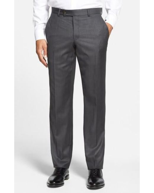 Ted Baker | Gray Jefferson Flat Front Wool Trousers for Men | Lyst