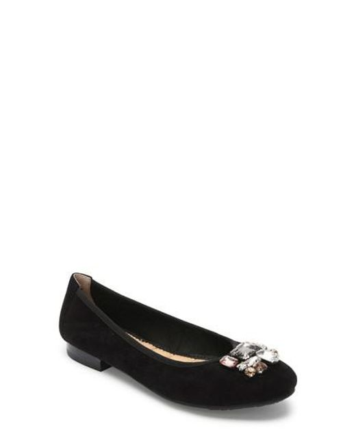 Me Too - Black Sapphire Crystal Embellished Flat - Lyst