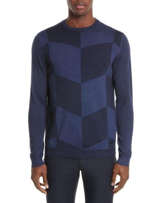 Armani - Blue Armani Collezioni Chevron Colorblock Sweater for Men - Lyst
