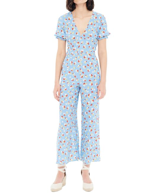 18fcde079d7 Lyst - Faithfull The Brand Mallory Jasmine Plunge Jumpsuit in Blue
