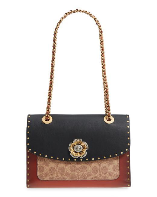 COACH Multicolor Parker Leather & Genuine Snakeskin Shoulder Bag