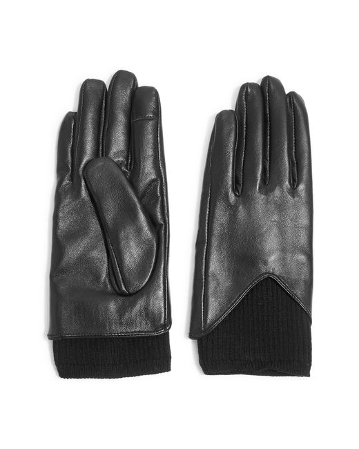 TOPSHOP - Black Rib Knit & Leather Touchscreen Gloves - Lyst