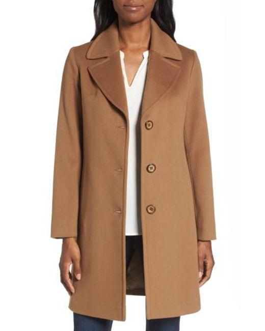 Fleurette   Brown Notch Collar Wool Walking Coat   Lyst