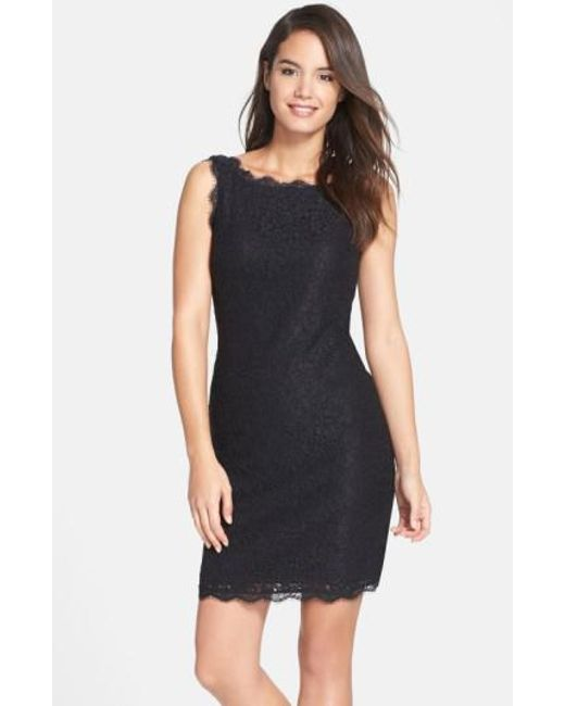 Adrianna Papell | Black Boatneck Lace Dress | Lyst