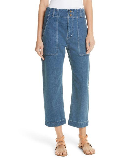 Apiece Apart - Blue Liv Crop Straight Leg Jeans - Lyst
