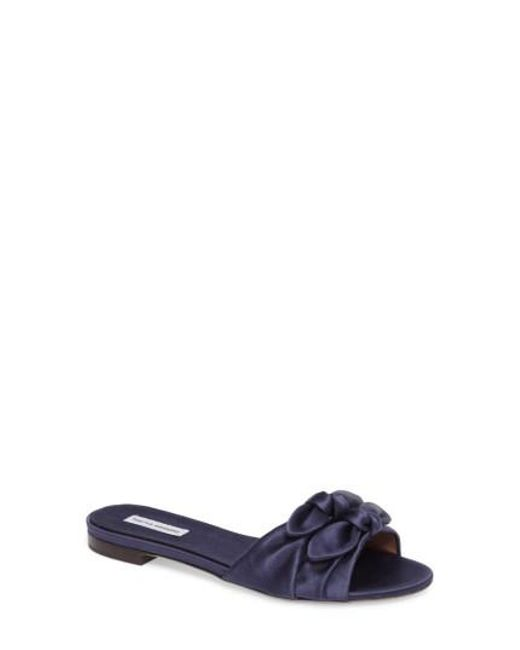 Tabitha Simmons | Blue Cleo Knotted Bow Slide Sandal | Lyst