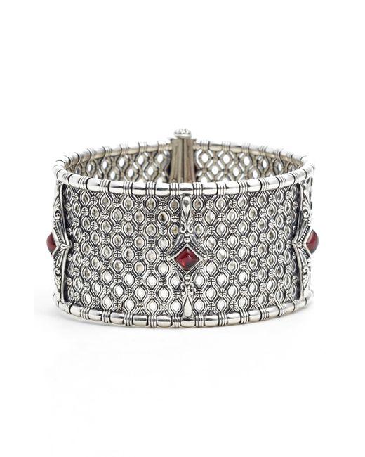 Konstantino - Metallic Etched Silver & Rhodolite Garnet Cuff Bracelet - Lyst
