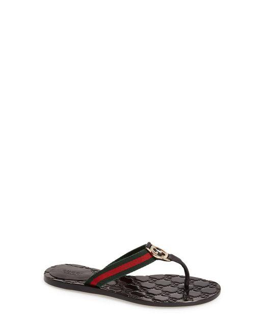 Gucci Brown 'Gg' Logo Sandal