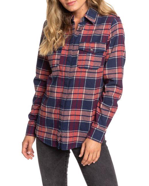 Roxy Dream In Blue Plaid Flannel Shirt