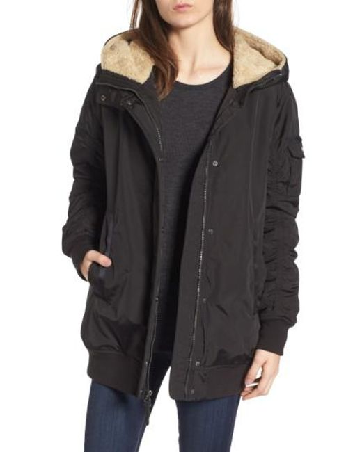Andrew Marc | Black Nina Hooded Jacket With Faux Fur Trim | Lyst