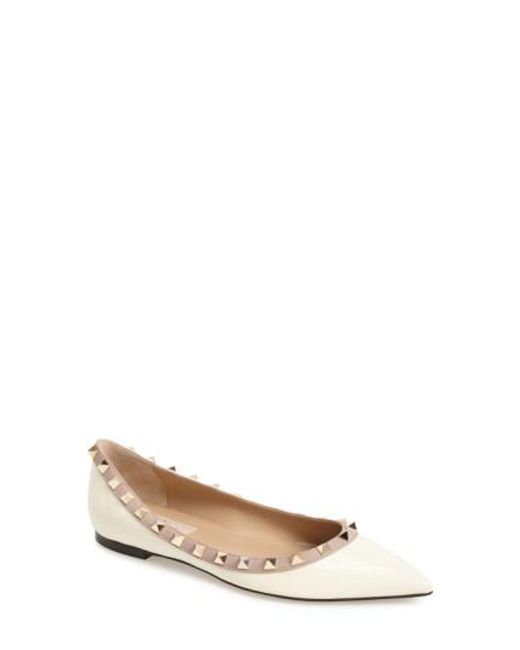 Valentino - White Rockstud Leather Ballerinas - Lyst