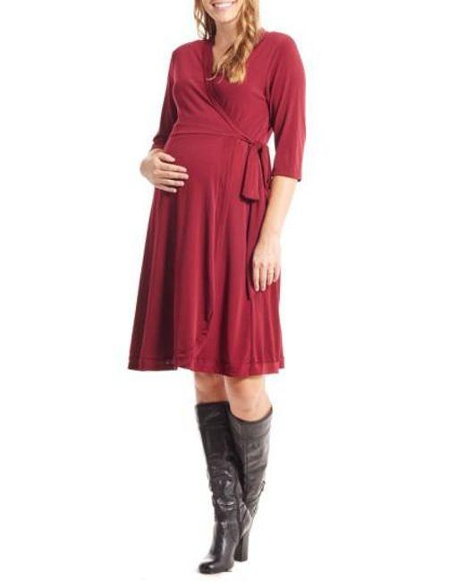 Everly Grey - Red Mila Wrap Maternity/nursing Dress - Lyst