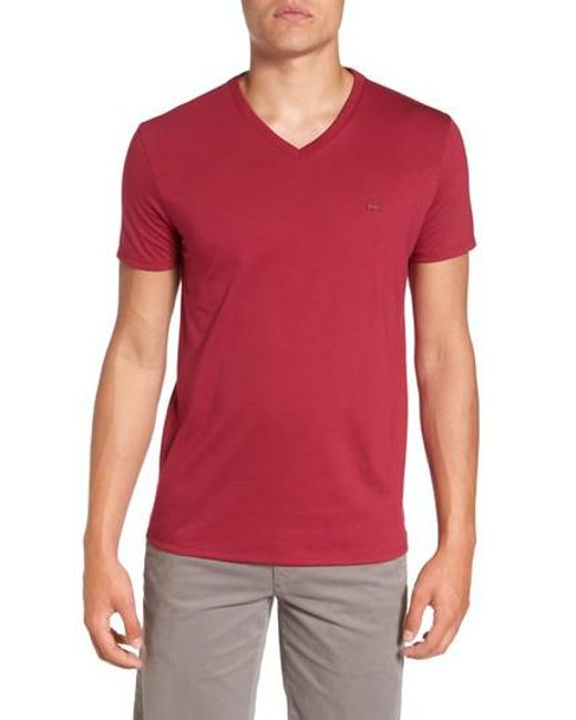 Lacoste | Red Pima Cotton T-shirt for Men | Lyst