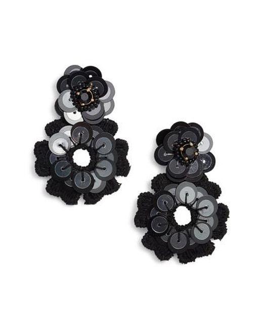 Kate Spade | Black Posy Grove Sequin Drop Earrings | Lyst