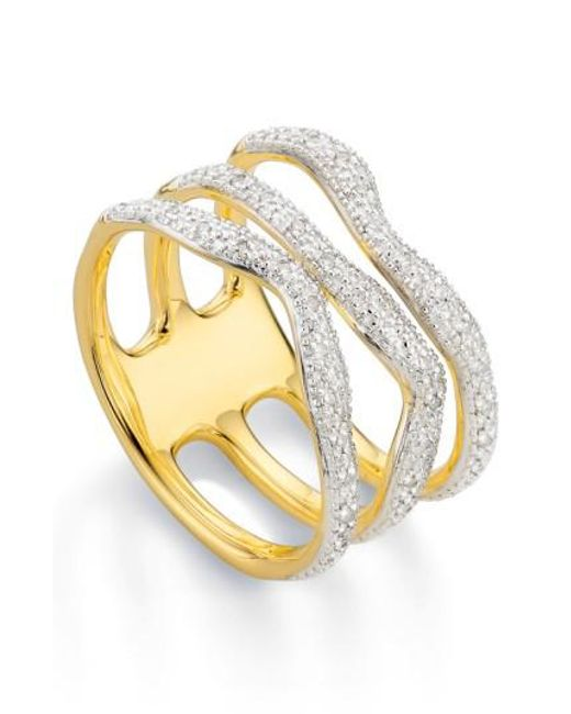Monica Vinader | Metallic 'riva' Three Band Diamond Ring | Lyst