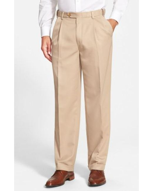 Berle | Brown Self Sizer Waist Pleated Trousers for Men | Lyst