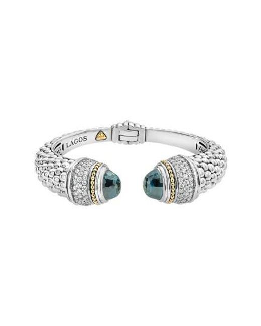 Lagos | Metallic Caviar Diamond & Semiprecious Stone Wrist Cuff | Lyst