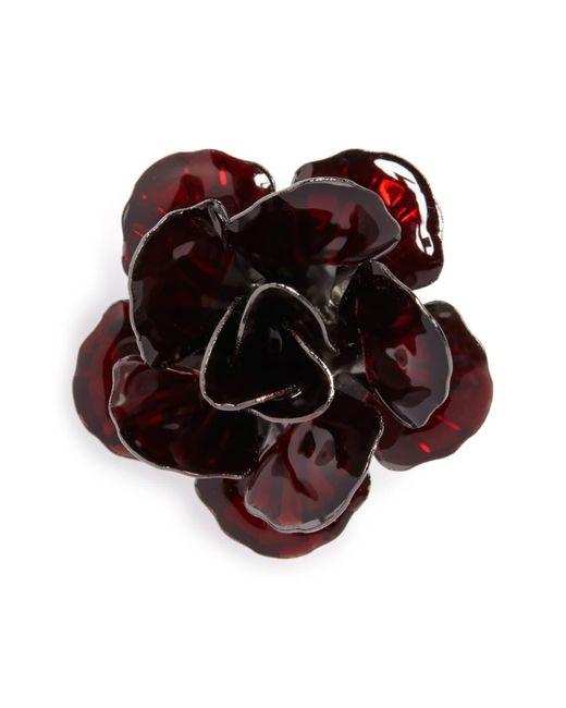 Hook + Albert Red Metallic Floral Lapel Pin for men