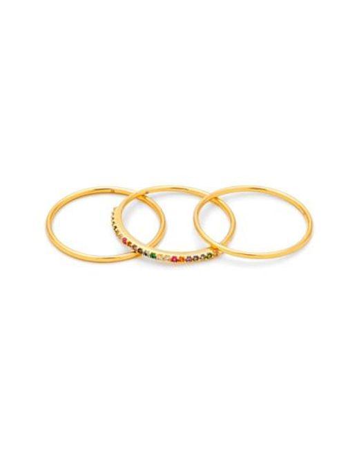 Gorjana | Metallic Shimmer Stackable Set Of 3 Band Rings | Lyst