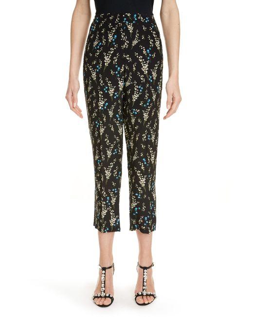 Erdem Black Floral Print Silk Crop Pants