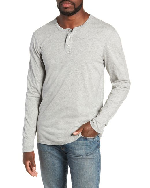 Reigning Champ - Gray Long Sleeve Henley T-shirt for Men - Lyst