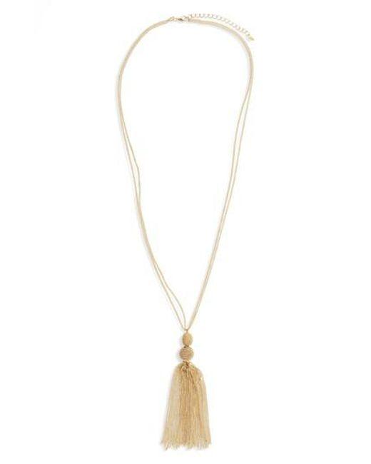 Panacea - Metallic Chain Tassel Pendant Necklace - Lyst