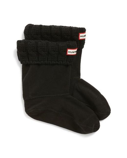 Hunter - Black Original Short Cable Knit Cuff Welly Boot Socks - Lyst