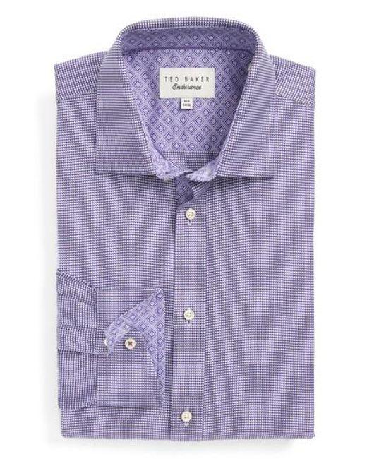 Ted Baker | Purple Chimy Trim Fit Geometric Dress Shirt for Men | Lyst