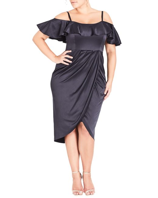 City Chic - Blue Trendy Plus Size Ruffled Cold-shoulder Dress - Lyst