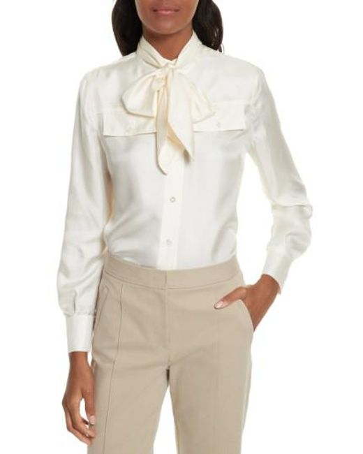 Tory Burch | White Holly Tie Neck Silk Blouse | Lyst